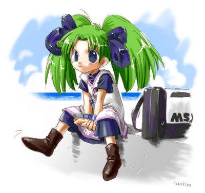 座っているmsx-dosたん(msx girl)